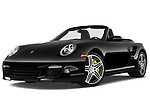 Low aggressive front three quarter view of a 2009 Porsche Carrera Turbo, with top down..
