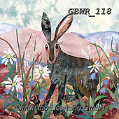 Simon, REALISTIC ANIMALS, REALISTISCHE TIERE, ANIMALES REALISTICOS, paintings+++++Card_KateF_NoondayHare,GBWR118,#a#, EVERYDAY ,rabbit