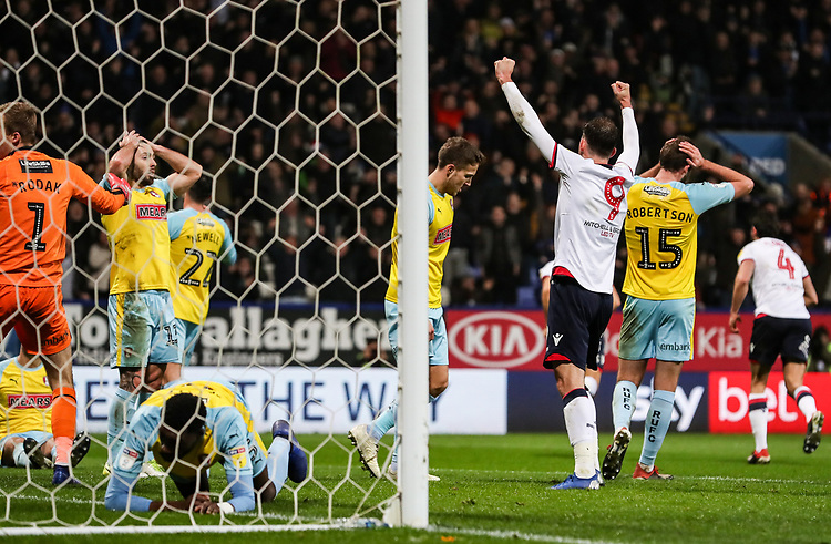 Bolton Wanderers' Christian Doidge celebrates his side's second goal<br /> <br /> Photographer Andrew Kearns/CameraSport<br /> <br /> The EFL Sky Bet Championship - Bolton Wanderers v Rotherham United - Wednesday 26th December 2018 - University of Bolton Stadium - Bolton<br /> <br /> World Copyright © 2018 CameraSport. All rights reserved. 43 Linden Ave. Countesthorpe. Leicester. England. LE8 5PG - Tel: +44 (0) 116 277 4147 - admin@camerasport.com - www.camerasport.com
