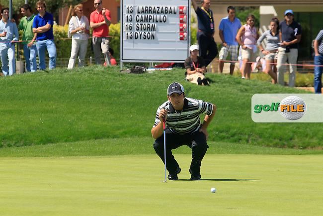 Francesco Molinari (ITA) lines up his putt on the 16th green during Sunday's Final Round of the Open de Espana at Real Club de Golf de Sevilla, Seville, Spain, 6th May 2012 (Photo Eoin Clarke/www.golffile.ie)