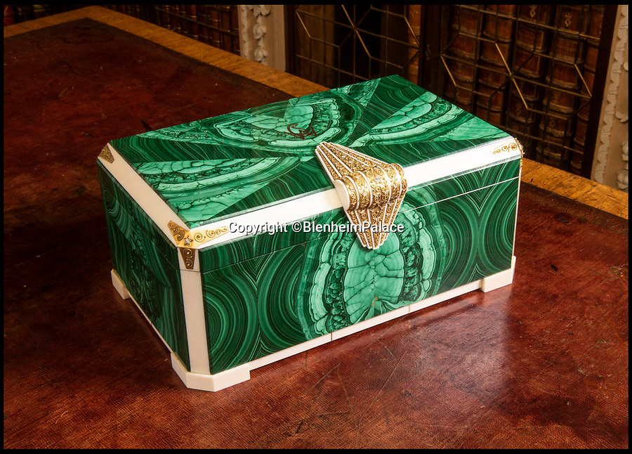 BNPS.co.uk (01202 558833)<br /> Pic:   BlenheimPalace/BNPS<br /> <br /> A diamond-encrusted cigar box that was a diplomatic gift to Sir Winston Churchill and is valued at £1m has gone on display at his birthplace of Blenheim Palace.<br /> <br /> The ornate box is made from green malachite and ivory with a diamond encrusted handle and has the wartime PM's initials in gold on the lid.<br /> <br /> It was given to Churchill as a present from the nation of the Belgian Congo, today part of DR Congo.