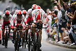 Cofidis in action during Stage 2 of the 2019 Tour de France a Team Time Trial running 27.6km from Bruxelles Palais Royal to Brussel Atomium, Belgium. 7th July 2019.<br /> Picture: ASO/Pauline Ballet | Cyclefile<br /> All photos usage must carry mandatory copyright credit (© Cyclefile | ASO/Pauline Ballet)