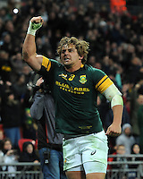 Ruan Janse van Rensburg of South Africa celebrates scoring a try in the corner during the Killik Cup match between Barbarians and South Africa at Wembley Stadium on Saturday 5th November 2016 (Photo by Rob Munro)