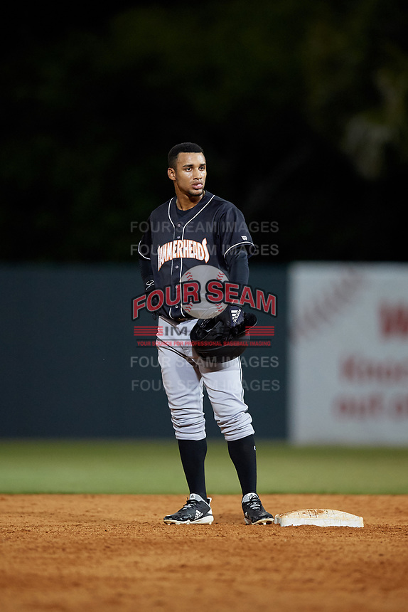 Jupiter Hammerheads Victor Victor Mesa (32) on second base during a Florida State League game against the Florida Fire Frogs on April 8, 2019 at Osceola County Stadium in Kissimmee, Florida.  Florida defeated Jupiter 7-6 in ten innings.  (Mike Janes/Four Seam Images)