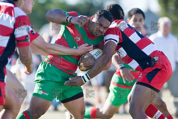 Sosefo Kata charges into defenders near the Karaka tryline.   Counties Manukau Premier Club Rugby game bewtween Waiuk & Karaka played at Waiuku on Saturday April 11th, 2010..Karaka won the game 24 - 22 after leading 21 - 9 at halftime.