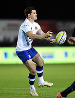 Freddie Burns of Bath Rugby passes the ball. Aviva Premiership match, between Newcastle Falcons and Bath Rugby on February 16, 2018 at Kingston Park in Newcastle upon Tyne, England. Photo by: Patrick Khachfe / Onside Images