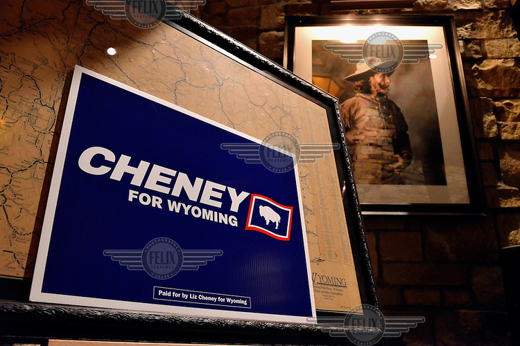 A Liz Cheney election poster in a restaurant. Daughter of Dick Cheney, George Bush's Vice-president.
