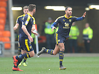 Oxford United's Jordan Graham celebrates scoring the opening goal <br /> <br /> Photographer Kevin Barnes/CameraSport<br /> <br /> The EFL Sky Bet League One - Blackpool v Oxford United - Saturday 23rd February 2019 - Bloomfield Road - Blackpool<br /> <br /> World Copyright © 2019 CameraSport. All rights reserved. 43 Linden Ave. Countesthorpe. Leicester. England. LE8 5PG - Tel: +44 (0) 116 277 4147 - admin@camerasport.com - www.camerasport.com