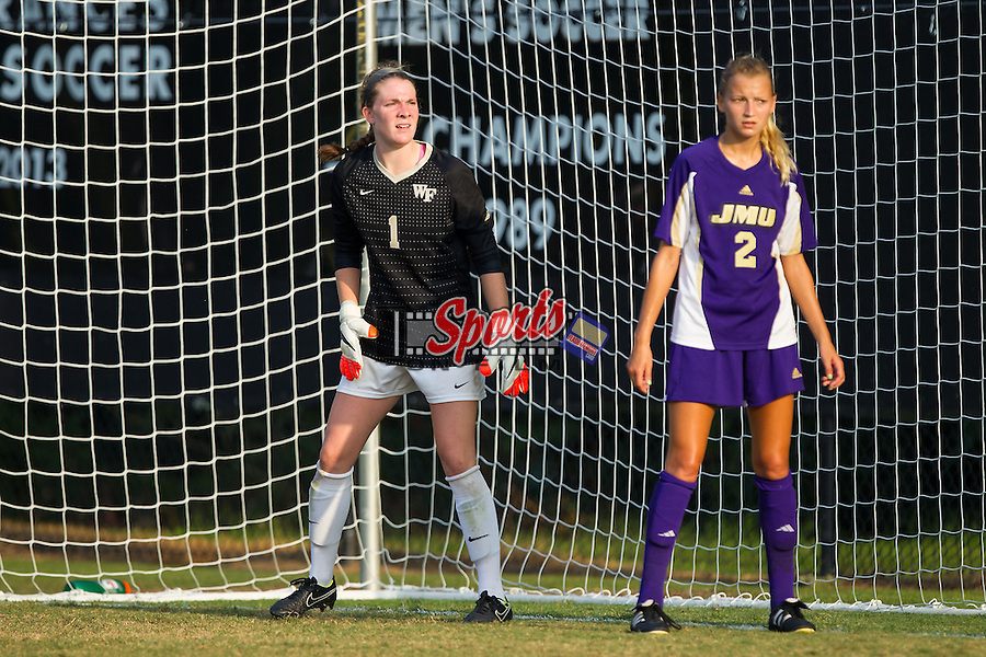 Lindsay Preston (1) of the Wake Forest Demon Deacons prepares to defend a corner kick during second half action against the James Madison Dukes at Spry Soccer Stadium on August 29, 2014 in Winston-Salem, North Carolina.  The Dukes defeated the Demon Deacons 2-1.   (Brian Westerholt/Sports On Film)