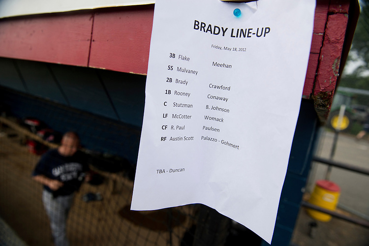 UNITED STATES - JUNE 1:  The line-up card made by Rep. Kevin Brady, R-Texas, left, is posted at a republican baseball practice at Simpson Stadium in Alexandria, Va.  (Photo By Tom Williams/CQ Roll Call)