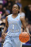 06 February 2012: North Carolina's She'la White. The Duke University Blue Devils defeated the University of North Carolina Tar Heels 96-56 at Cameron Indoor Stadium in Durham, North Carolina in an NCAA Division I Women's basketball game.