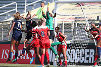 Cary, North Carolina  - Saturday August 19, 2017: Cali Farquharson attempts a headed clearance that rebounds off of Kassey Kallman for an own goal during a regular season National Women's Soccer League (NWSL) match between the North Carolina Courage and the Washington Spirit at Sahlen's Stadium at WakeMed Soccer Park. North Carolina won the game 2-0.