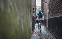 Alexey Lutsenko (KAZ/Astana) returning to the team bus through a small alley behind the finish zone after the race<br /> <br /> 12th Eneco Tour 2016 (UCI World Tour)<br /> Stage 7: Bornem › Geraardsbergen (198km)