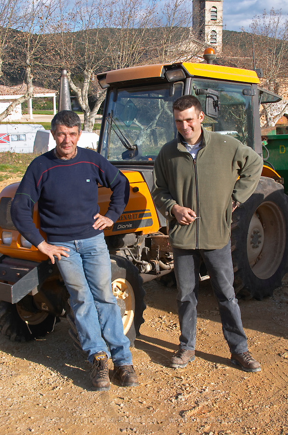 Frédéric Pourtalié, right, together with his father. Domaine de Montcalmes in Puechabon. Terrasses de Larzac. Languedoc. Owner winemaker. France. Europe.