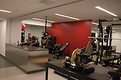 Workout area in the middle. - Harvard University celebrated the official opening of the newly renovated Bright-Landry Hockey Center on Saturday, November 1, 2014,  in Cambridge, Massachusetts.