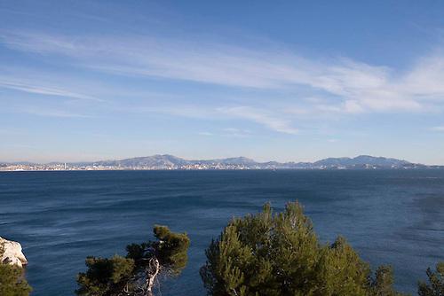 L'estaque, Marseille, jan 2015. Vue sur la baie de Marseille.