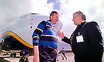 Denis Cregan of Kerry Airport, right, discussing the Airport levy with Michael Cawley, RyanAir, left.<br />