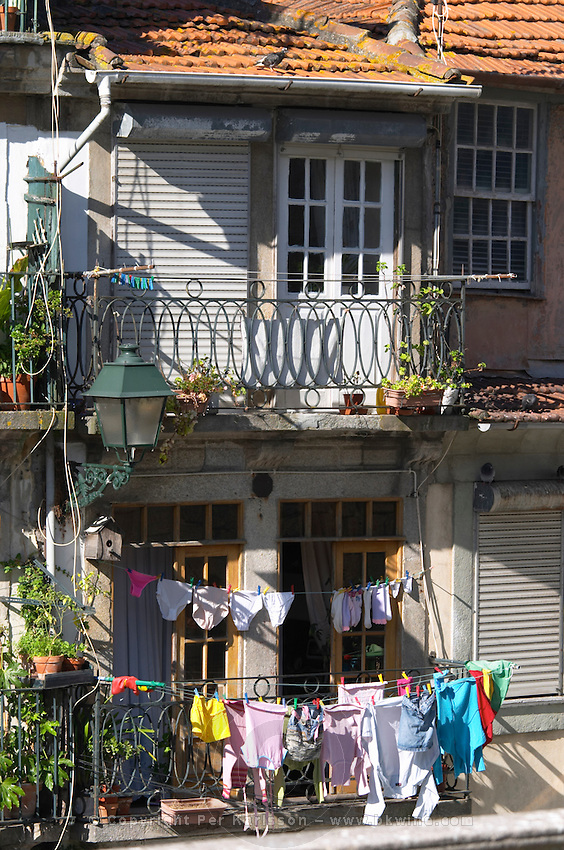 apartment buildings facade with laundry porto portugal