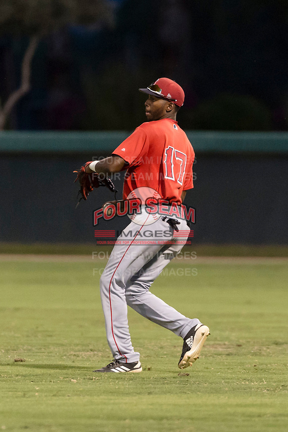 AZL Angels right fielder Trent Deveaux (17) prepares to make a throw to the infield during an Arizona League game against the AZL Dodgers at Camelback Ranch on July 8, 2018 in Glendale, Arizona. The AZL Dodgers defeated the AZL Angels by a score of 5-3. (Zachary Lucy/Four Seam Images)