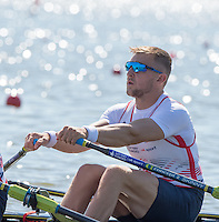 Brandenburg. GERMANY.<br /> GBR M2X. Bow John COLLINS, at the start of the heat. 2016 European Rowing Championships at the Regattastrecke Beetzsee<br /> <br /> Friday  06/05/2016<br /> <br /> [Mandatory Credit; Peter SPURRIER/Intersport-images]