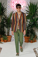 Model walks runway in an outfit from the David Hart Spring Summer 2018 collection for New York Mens Day at Dune Studios on July 10, 2017; duing New York Fashion Week: Mens Spring Summer 2018.