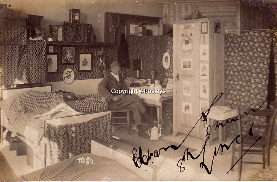 BNPS.co.uk (01202 558833)<br /> Pic: Bosleys/BNPS<br /> <br /> The Officers room's were very comfortable..<br /> <br /> The stark contrast between the relative life of luxury enjoyed by captured Tommies of the First World War to the hell of the trenches they left behind can be revealed in a remarkable archive.<br /> <br /> It seems that being taken prisoner was a blessing in disguise judging by the gallery of photos that show the British officers leading a very civilised life at a German PoW camp.<br /> <br /> There was a gentlemen's agreement in place which would see the detainees allowed outside the camp during the day as long as they returned by the evening.<br /> <br /> The archive of Lieutenant Charles Mayo, which includes three of his First World War medals, is being sold by Bosley's auctioneers of Marlow, Bucks on Wednesday.