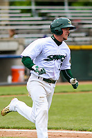 Beloit Snappers second baseman Trace Loehr (3) rounds first base during a Midwest League game against the Quad Cities River Bandits on May 20, 2018 at Pohlman Field in Beloit, Wisconsin. Beloit defeated Quad Cities 3-2. (Brad Krause/Four Seam Images)