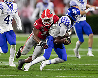 ATHENS, GA - OCTOBER 19: Nakobe Dean #17 of the Georgia Bulldogs tackles Josh Ali #6 of the Kentucky Wildcats causing a fumble recovered by Kentucky during a game between University of Kentucky Wildcats and University of Georgia Bulldogs at Sanford Stadium on October 19, 2019 in Athens, Georgia.