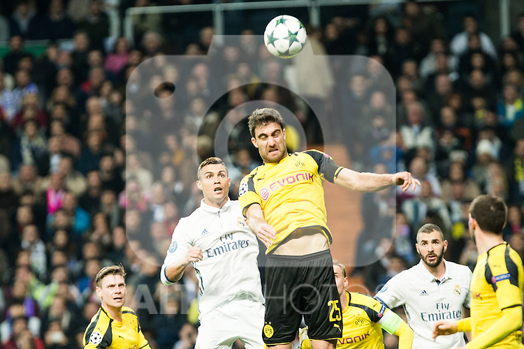 Real Madrid's Cristiano Ronaldo, Borussia Dortmund Sokratis Papastathoppulos during Champions League match between Real Madrid and Borussia Dortmund  at Santiago Bernabeu Stadium in Madrid , Spain. December 07, 2016. (ALTERPHOTOS/Rodrigo Jimenez)