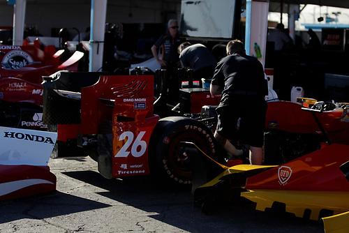 26-27 February, 2016, Avondale, Arizona USA<br /> Andretti garage, crewman at work on Carlos Munoz' car<br /> ©2016, Phillip Abbott<br /> LAT Photographic