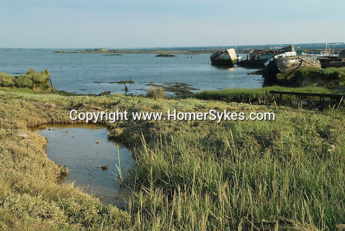 Hoo St Werburgh, Kent  Uk. Marshes Medway river estuary derelict abandoned boats. Ship wrecks. Surrounding the river Medway the marshes are those that appear in Great Expectations by Charles Dickens, in the book they are presented as marshes around the Thames.