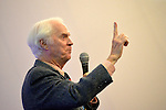 Garden City, New York, U.S. November 21, 2013. NASA Astronaut RUSTY SCHWEICKART, 1969 Apollo 9 Lunar Module LM Pilot, speaks at Legends of Air and Space lecture event at Cradle of Aviation Museum on Long Island. Schweickart, a co-founder of the Association of Space Explorers and of B612 Foundation, discussed the importance of defending Earth from asteroid impacts.