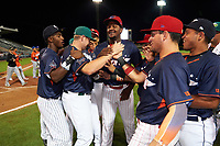 Daytona Tortugas Gavin LaValley (32) is mobbed by teammates - including Jorge Mateo, Jose Taveras, Herlis Rodriguez, Arvicent Perez (L-R) - after receiving the Most Valuable Player Award for the Florida State League All-Star Game on June 17, 2017 at Joker Marchant Stadium in Lakeland, Florida.  FSL North All-Stars  defeated the FSL South All-Stars  5-2.  (Mike Janes/Four Seam Images)
