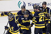 Josh Myers (Merrimack - 23), Justin Hussar (Merrimack - 18), Vinny Scotti (Merrimack - 25), Justin Mansfield (Merrimack - 27), Kyle Bigos (Merrimack - 3) - The Boston College Eagles defeated the visiting Merrimack College Warriors 4-3 on Friday, November 16, 2012, at Kelley Rink in Conte Forum in Chestnut Hill, Massachusetts.