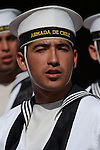 Chilean Navy Crew from the Esmeralda (BE-43),  on Easter Island, Chile.