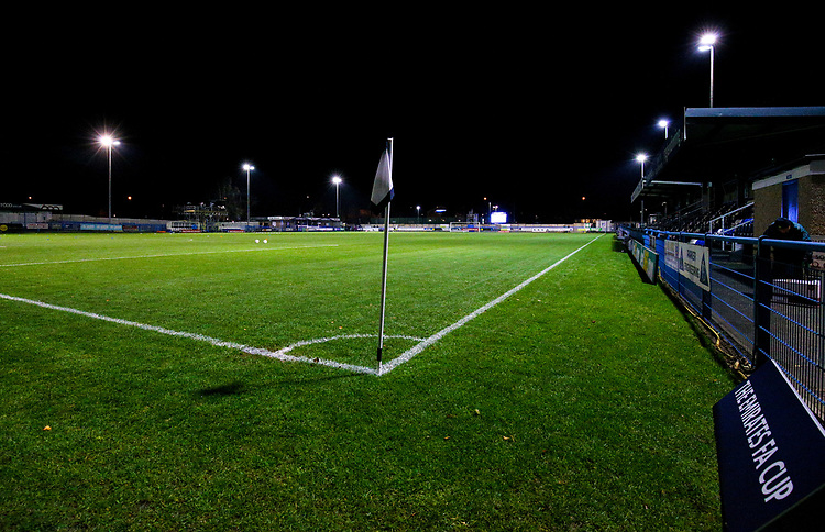 A general view of Nethermoor Park, home of Guiseley AFC<br /> <br /> Photographer Alex Dodd/CameraSport<br /> <br /> The Emirates FA Cup Second Round - Guiseley v Fleetwood Town - Monday 3rd December 2018 - Nethermoor Park - Guiseley<br />  <br /> World Copyright &copy; 2018 CameraSport. All rights reserved. 43 Linden Ave. Countesthorpe. Leicester. England. LE8 5PG - Tel: +44 (0) 116 277 4147 - admin@camerasport.com - www.camerasport.com