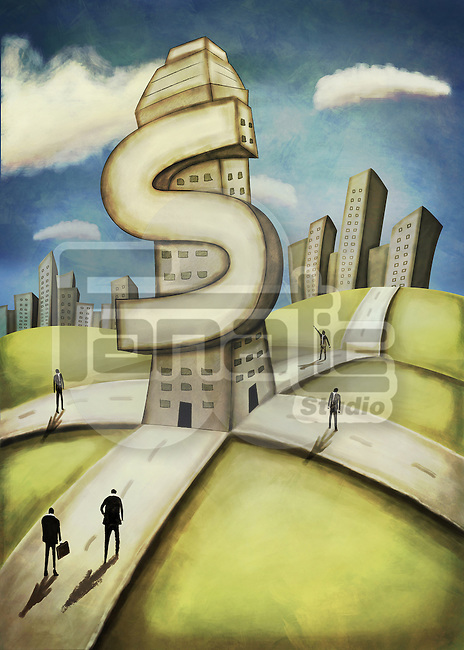 Illustrative image of business people walking in front of dollar shaped building representing path to success