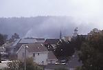 Fog rising over  the village of Mendocino