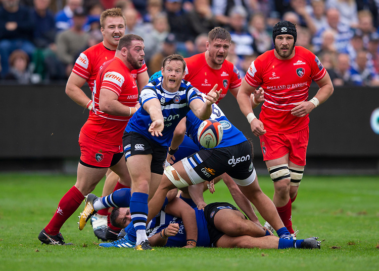 Bath Rugby's Chris Cook in action during todays match<br /> <br /> Photographer Bob Bradford/CameraSport<br /> <br /> Premiership Rugby Cup Round Three - Bath Rugby v Leicester Tigers - Saturday 5th October 2019 - The Recreation Ground - Bath<br /> <br /> World Copyright © 2018 CameraSport. All rights reserved. 43 Linden Ave. Countesthorpe. Leicester. England. LE8 5PG - Tel: +44 (0) 116 277 4147 - admin@camerasport.com - www.camerasport.com
