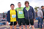 Amhlaoibh Lynch, Mick Twomey and Donal McCarthy (Ballingarry) at the start of the Dingle Triathlon on Saturday morning.