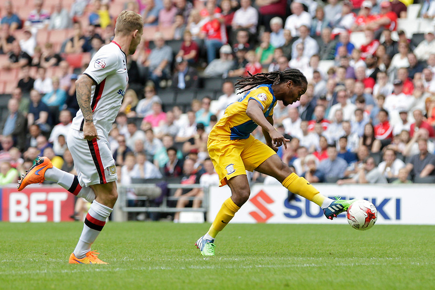 Preston North End's Daniel Johnson has a shot at goal<br /> <br /> Photographer Craig Mercer/CameraSport<br /> <br /> Football - The Football League Sky Bet Championship - Milton Keynes Dons v Preston North End - Saturday 15th August 2015 - Stadium:mk - Milton Keynes<br /> <br /> &copy; CameraSport - 43 Linden Ave. Countesthorpe. Leicester. England. LE8 5PG - Tel: +44 (0) 116 277 4147 - admin@camerasport.com - www.camerasport.com