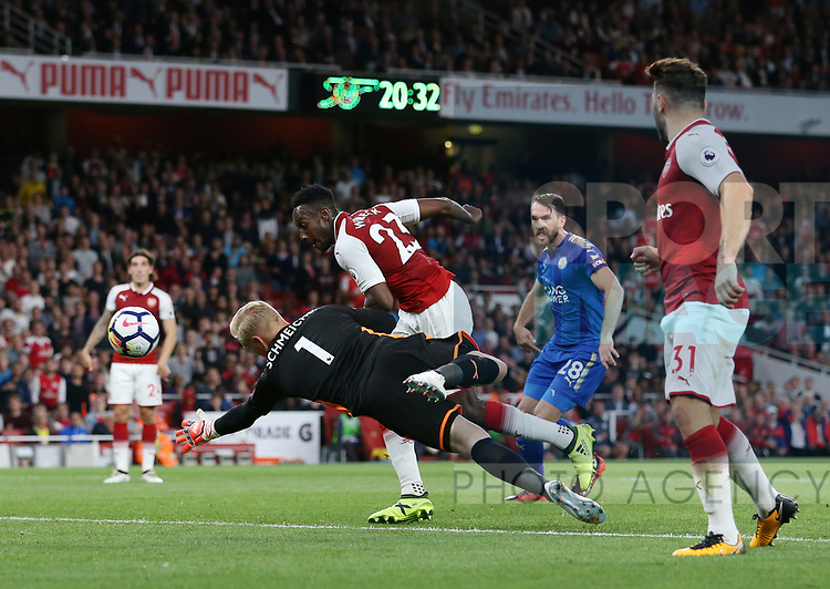 Arsenal's Danny Welbeck scoring his sides second goal during the premier league match at the Emirates Stadium, London. Picture date 11th August 2017. Picture credit should read: David Klein/Sportimage