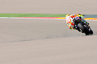 Italian rider Valentino Rossi Taking a curve during the Grand Prix Aragon 2012