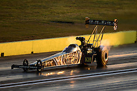 Sept. 21, 2012; Ennis, TX, USA: NHRA top fuel dragster driver Khalid Albalooshi during qualifying for the Fall Nationals at the Texas Motorplex. Mandatory Credit: Mark J. Rebilas-US PRESSWIRE