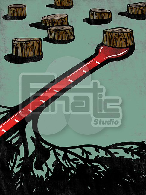 Illustrative image of tree stumps with thermometer representing global warming