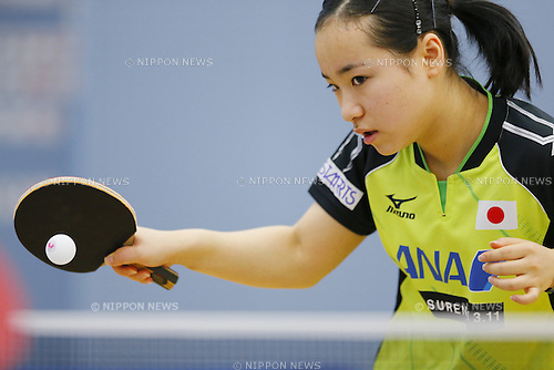 Mima Ito (JPN), APRIL 22, 2015 - Table Tennis : Japan national team training session for 2015 World Table Tennis Championships in Tokyo at Ajinomoto National Training Center, Tokyo, Japan. (Photo by Yusuke NakanishiAFLO SPORT)