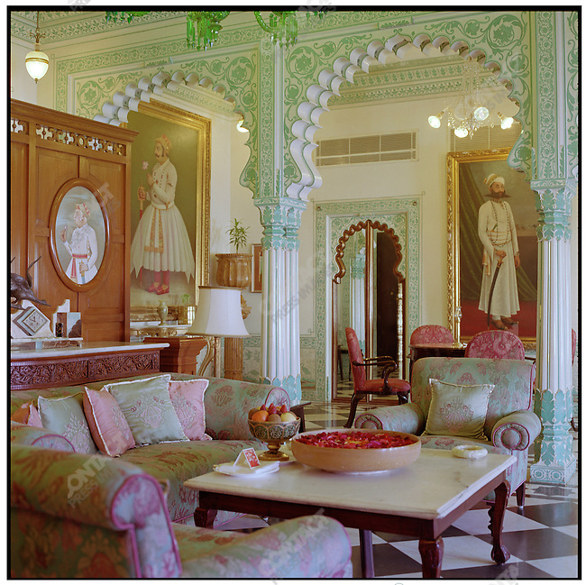 The former quarters of Maharana Fateh Singh, the 73rd Maharana of Udaipur, decorated with pearl and glass paneling, are now the the Imperial Suite at the Shiva Niwas Palace, available to guests for $972 US dollars a night. Udaipur, Rajasthan, India, February 2006.
