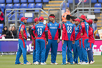 Hamid Hassan (Afghanistan) and team mates following the wicket of Dhananjaya de Silva (Sri Lanka) during Afghanistan vs Sri Lanka, ICC World Cup Cricket at Sophia Gardens Cardiff on 4th June 2019