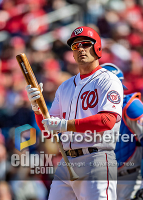 5 April 2018: Washington Nationals first baseman Ryan Zimmerman looks to third for a sign during game action against the New York Mets at Nationals Park in Washington, DC. The Mets defeated the Nationals 8-2 in the first game of their 3-game series. Mandatory Credit: Ed Wolfstein Photo *** RAW (NEF) Image File Available ***