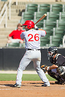 Carlos Lopez (26) of the Hagerstown Suns at bat against the Kannapolis Intimidators at CMC-Northeast Stadium on June 1, 2014 in Kannapolis, North Carolina.  The Intimidators defeated the Suns 5-1 in game one of a double-header.  (Brian Westerholt/Four Seam Images)